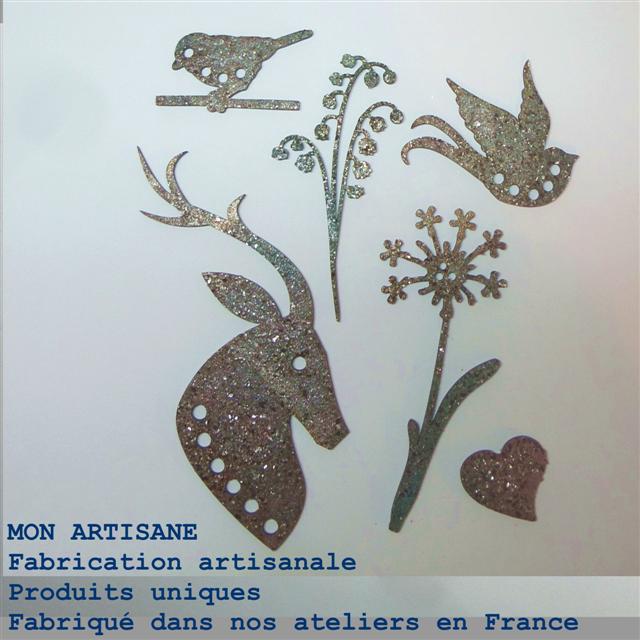 Srapbooking decors bois 10 cerf fleurs oiseaux coeur boutons small