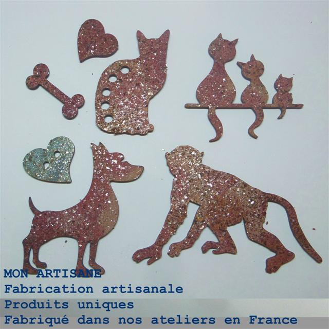 Srapbooking decors bois animaux 8 boutons small