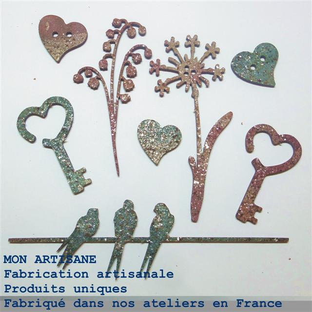 Srapbooking decors bois fleurs oiseaux 7 boutons small