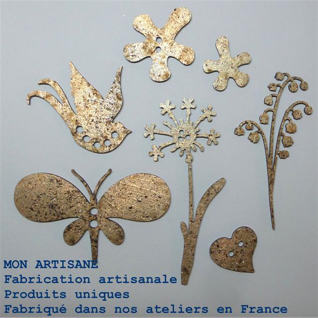 Srapbooking decors bois papillons fleurs 5 small