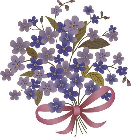 Sticker violettes fl50098 bouquet fleurs bleues decoupe small