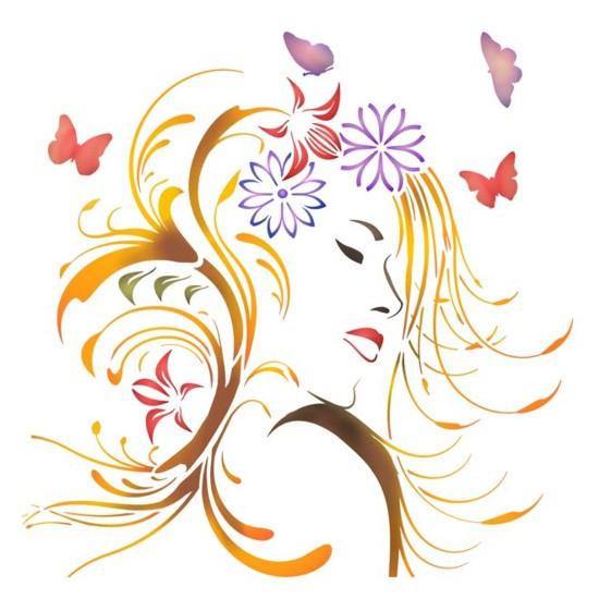 Stipo1222 femme papillons pochoir style pochoir mon artisane