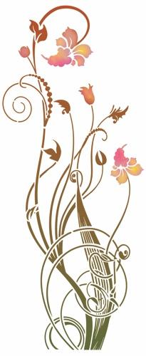 Stipo745 pochoir fleurs modernes design actuel motif vertical