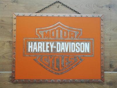 Tableau harley davidson metal bleu cuivre orange