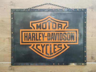 Tableau harley davidson metal noir orange medium