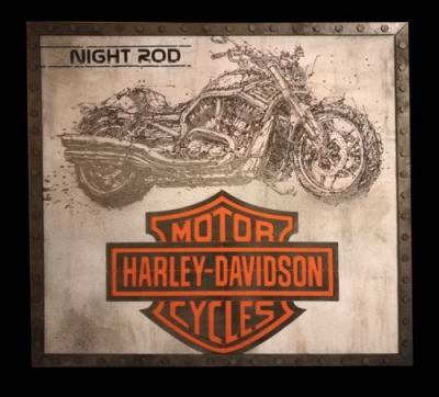 Tableau harley davidson night road metal bleu p