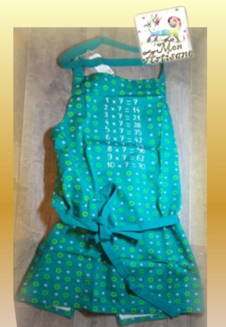 Tablier bleu vert table de conjugaison x7 mon artisane