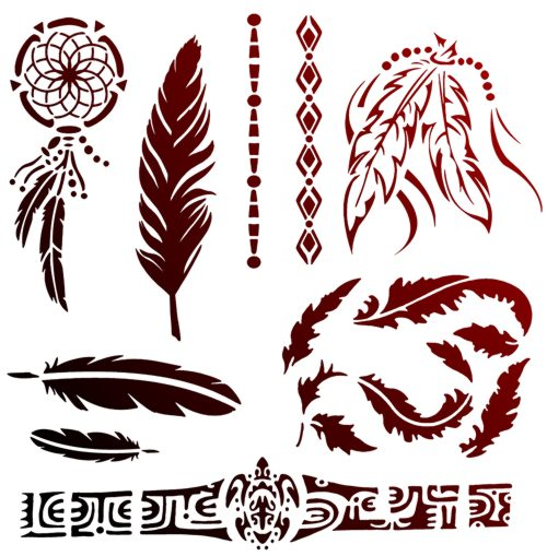 Tat22599 pochoirs tatouages tatoo attrape reves plumes mon artisane