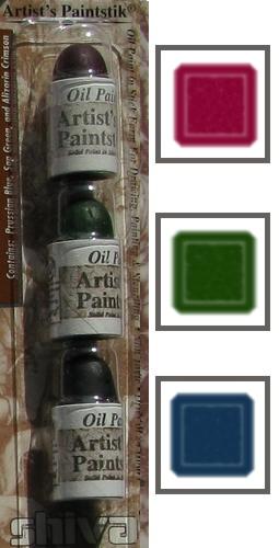 3 mini batonnets peintures pour pochoir bleu pruss vert vessi alza cram