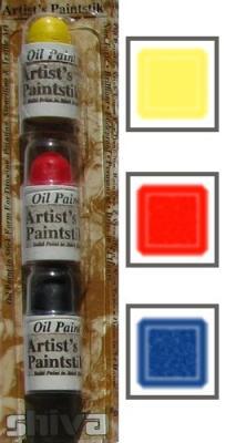 3 mini sticks jaune, rouge, bleu