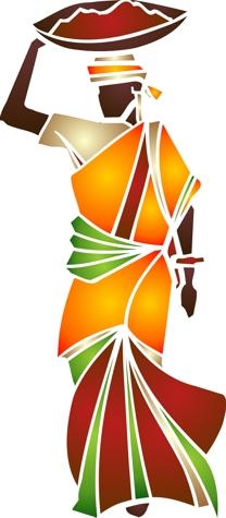 Afri3004 femme porteuse d eau pochoir mon artisane
