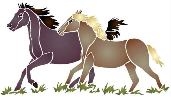 An131 pochoir deux chevaux