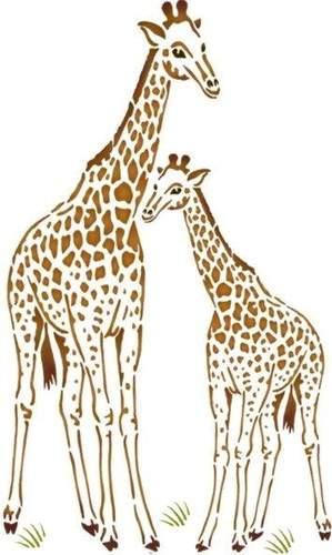 An134 pochoir girafe et girafon