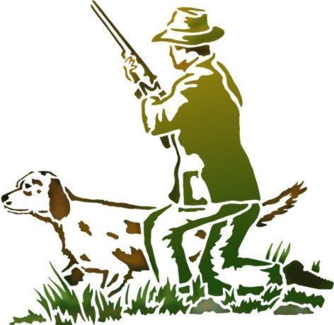 An356 chasseur et chien pochoir a peindre