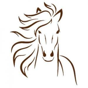 An54541 cheval de face pochoir et sticker chocolat