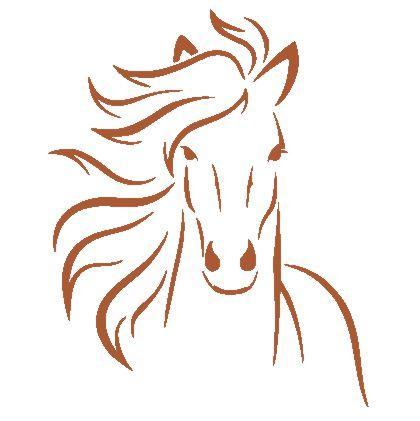 An54541 cheval de face pochoir et sticker cuivre