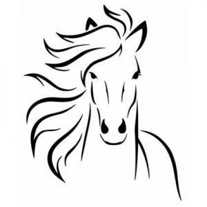 An54541 cheval de face pochoir et sticker mon artisane