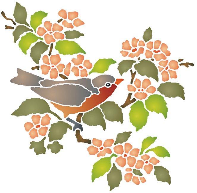 An58956 oiseau branche pochoir a peindre