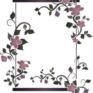Cadre fleuri rectangulaire pochoir mon artisane fl11005 fonce