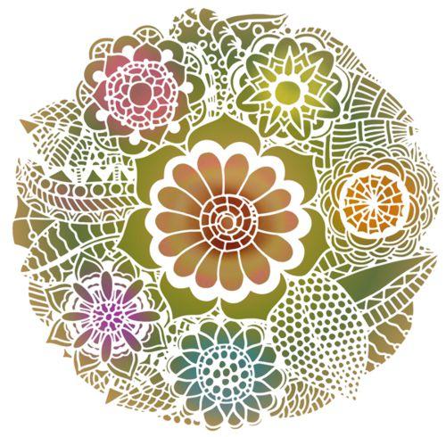 Cercle de fleurs feuillages pochoir rosace mandala mon artisane fl21548