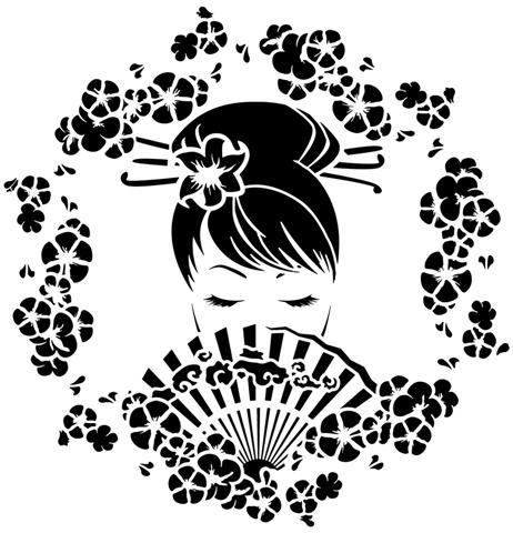 Chin141414 magnifique fille asiatique chinoise 14 pochoir mon artisane style pochoir