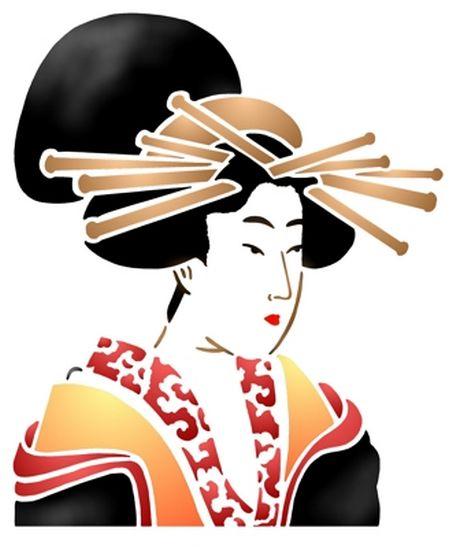 Chin20 pochoir visage geicha geischa style pochoir mon artisane