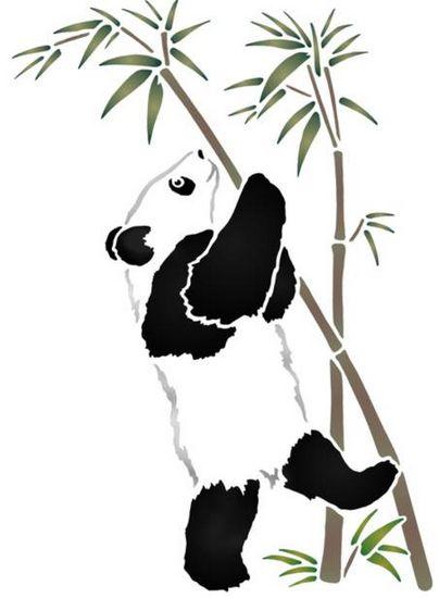Chin21 pochoir panda sur brance bambou mon artisane style pochoir