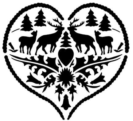 D36569 coeur cerfs montagne style montagnard