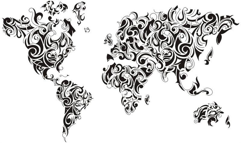 Div4006 terre mappemonde carte du monde planisphere style design