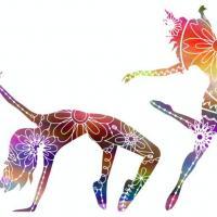 Enf3256 danseuses danse moderne pochoir couleur