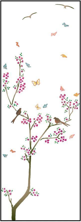 F25698 arbre oiseaux papillons