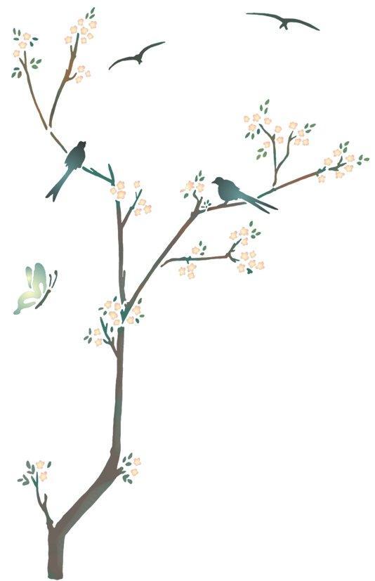 F46852 branche stylisee oiseaux