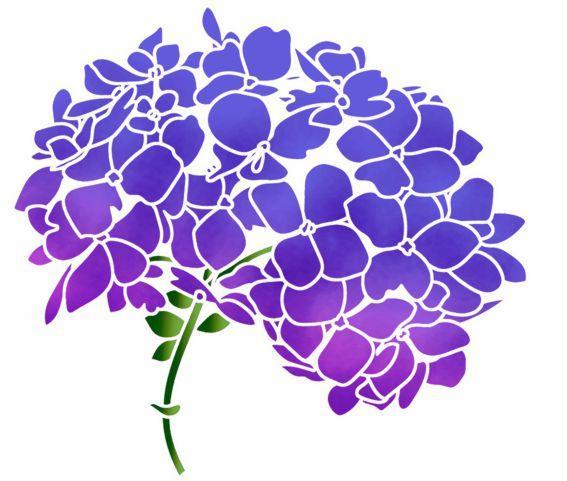 Fle654 fleur tete hortensia pochoir p