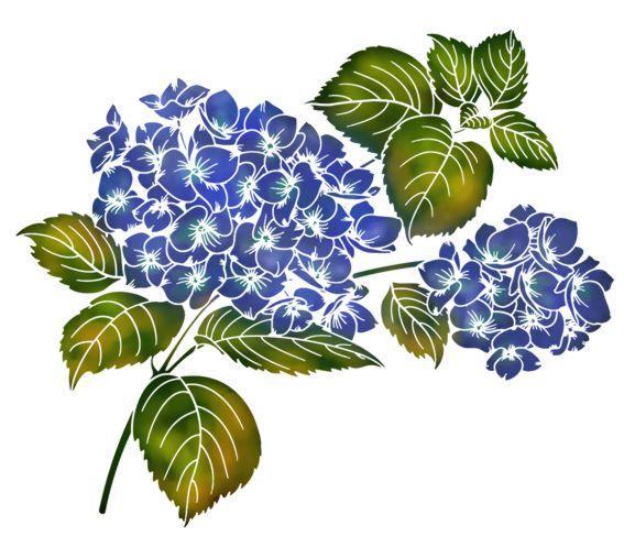 Fle781 fleurs hydrangea hortensias pochoir mon artisane p