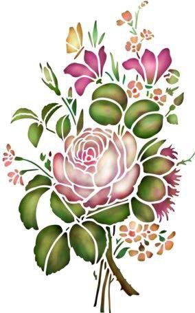 Fr1770 pochoir bouquet de fleurs pivoines mon artisane style pochoir