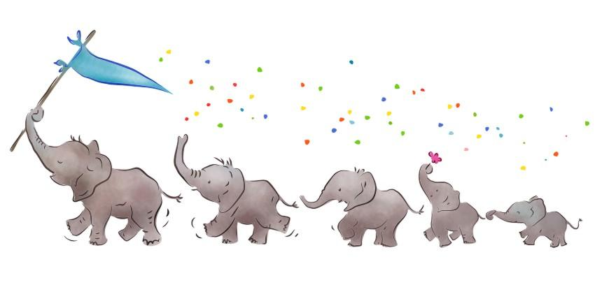 Fr37102 frise elephants mignons pochoir enfants mon artisane