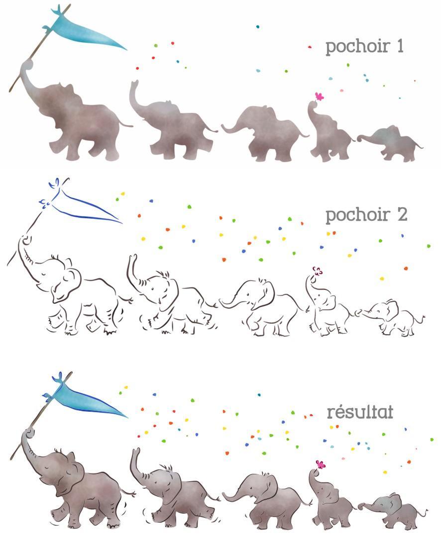 Fr37102 frise elephants mignons pochoir enfants resultat mon artisane