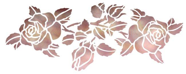 Fri6624 frise de roses pochoir mon artisane