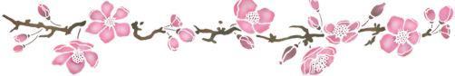 Fri706805 frise fleur de pommier pochoir style pochoir mon artisane
