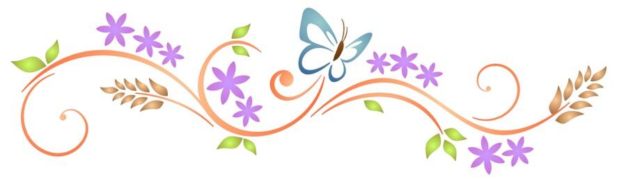 Frise design fleurs papillonspp