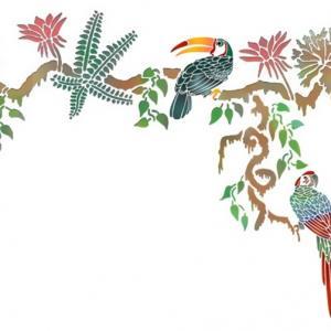 Frise liane oiseaux exotiques toucan perroquet pochoir