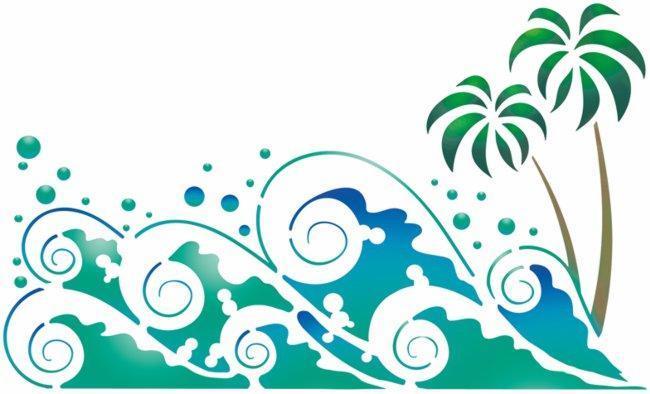 Mar301 pochoir vagues palmiers mon artisane
