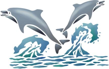 Mar302 pochoir deux dauphins en saut pochoir a peindre mon artisane