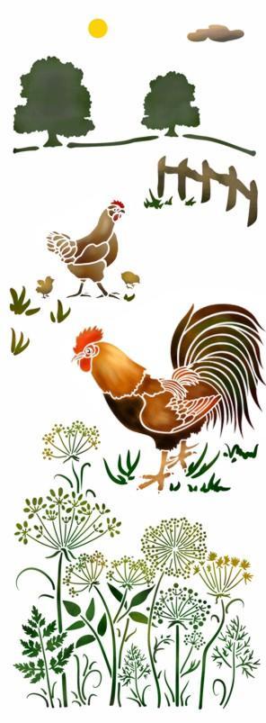 Mu4114 pochoir paysage vertical poule coq poussins mon artisane