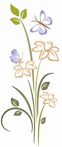 Papillon fleur1 pochoir