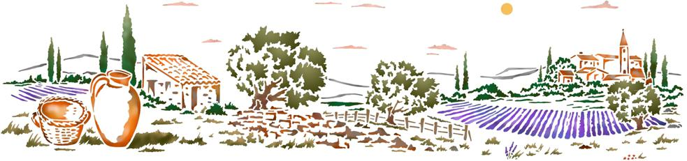 Paysage provencal long pochoir mural mon artisane
