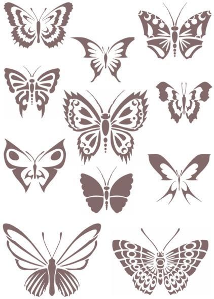 Planche de papillons pochoir mon artisane ref an5482p