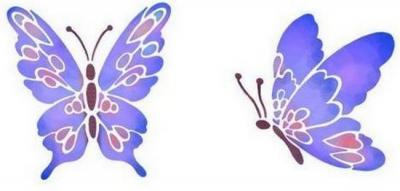 2 papillons mauves