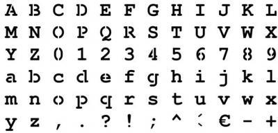 pochoir alphabet Courrier plastique 400 microns