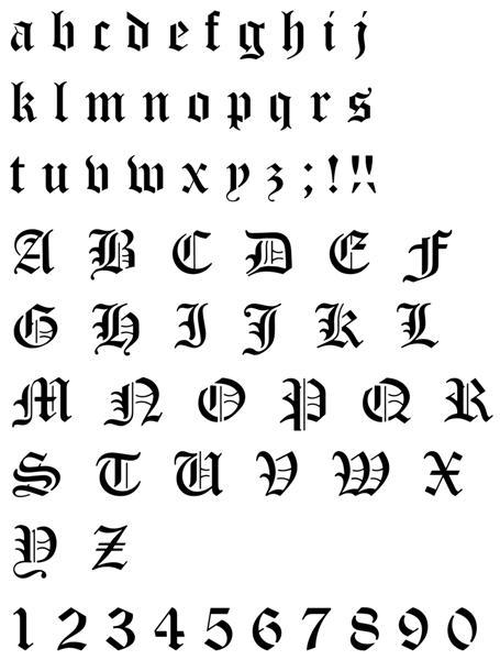 Pochoir alphabet gothique old english complet